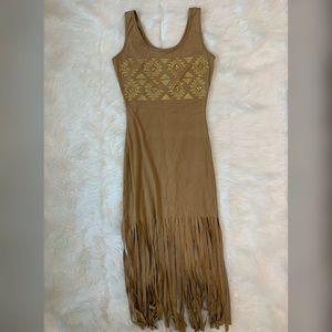 Tan boho suede dress